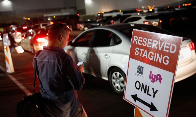 uber and lyft staging area