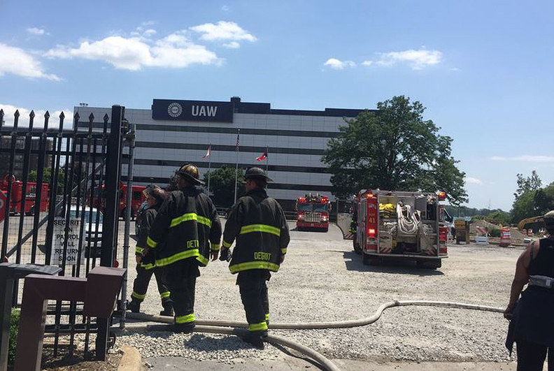 Investigators are awaiting results from lab testing on computers, batteries and wiring from the scene at the UAW's Solidarity House to determine the cause of the fire.