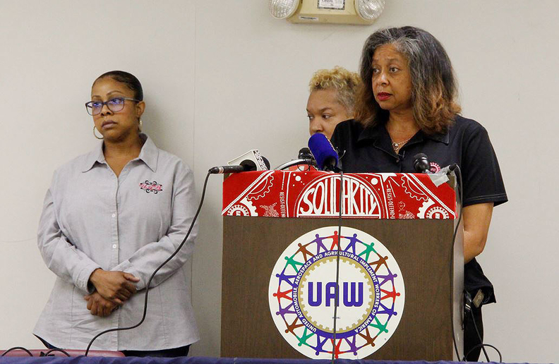 From left to right: Danielle Murry, Regina Duly, both workers at the plant and members of UAW Local 909; Ghana Goodwin-Dye, president of UAW Local 909.