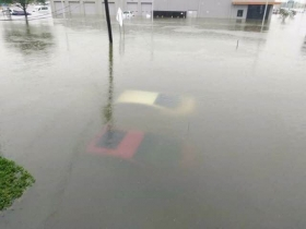 A Photo From Facebook Shows Floodwaters Overwhelming Mcree Ford In Inson Texas
